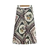 Women Retro Geometric Print Pleated Midi Skirt Back Elastic Buttons Design Elegant Female Vintage Mid Calf Skirts S