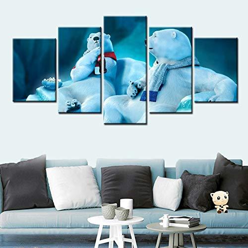 KWzEQ Wandkunst Leinwand Poster drucken Cartoon Bär Chat Dekoration Kinderzimmer Wohnzimmer,Rahmenlose Malerei,20x35cmx2, 20x45cmx2, 20x55cmx1