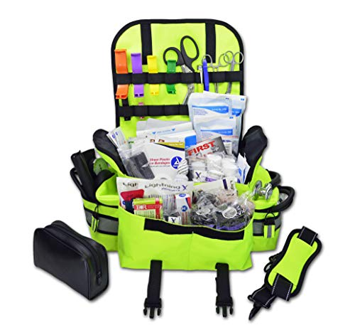 Lightning X Small First Responder EMT EMS Trauma Bag Stocked First Aid Fill Kit B (Fluorescent Yellow)