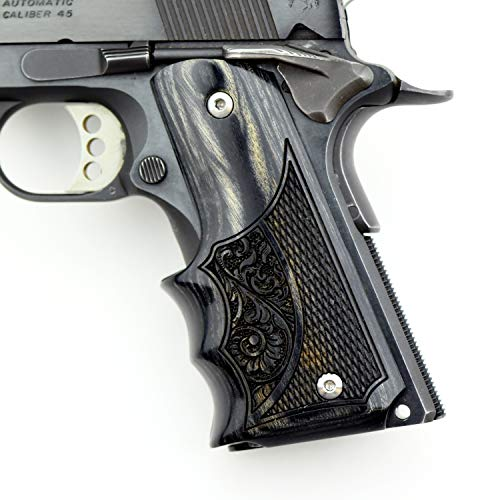 Altamont 1911 Grips - Fingergroove - Full Size 1911 Real Wood Gun Grips w. Ambi Safety fits Most Commander, Standard & Government 1911 Models - Made in USA - Silverblack - Engraved