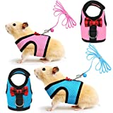 SATINIOR 2 Pieces Guinea Pig Harness and Leash Soft Mesh Small Pet Harness with Safe Bell, No Pulling Comfort Padded Vest for Guinea Pigs, Ferret, Chinchilla and Similar Small Animals (Pink, Blue, S)