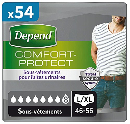 Depend Comfort Protect Sous-Vêtements Homme (8 Gouttes) Taille L/XL pour Fuites Urinaires et Incontinence x54 (6 Paquets de 9 Sous-Vêtements)