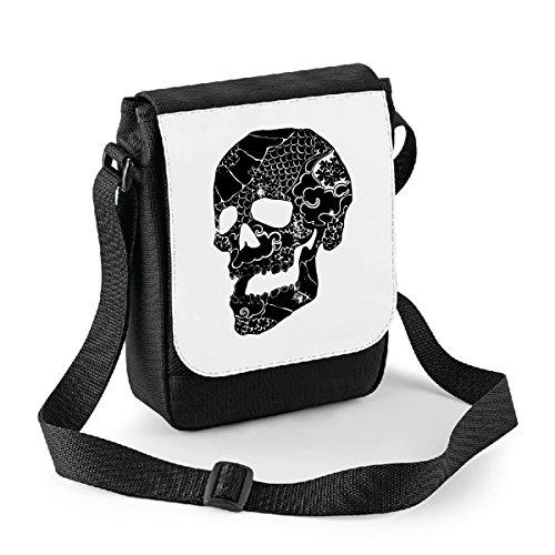 bubbleshirt Mini Borsa a Tracolla Teschio - Skull - Idea Regalo - in Poliestere Misura 18x22 cm