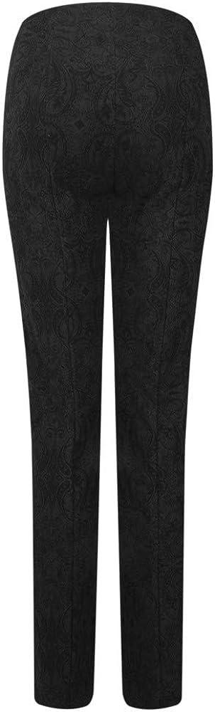 Robell Trousers - Rose Jacquard Full Length Trouser, Black Black