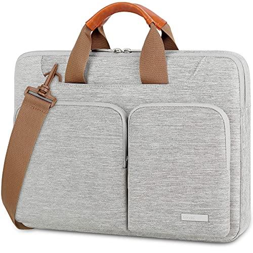 Lacdo 14 Inch 360° Protective Laptop Shoulder Bag Sleeve for 14' ASUS VivoBook/Chromebook Flip 14, HP Stream 14/EliteBook, Acer Swift 1/Chromebook 314, Lenovo IdeaPad/ThinkPad, Dell Notebook bag, Gray