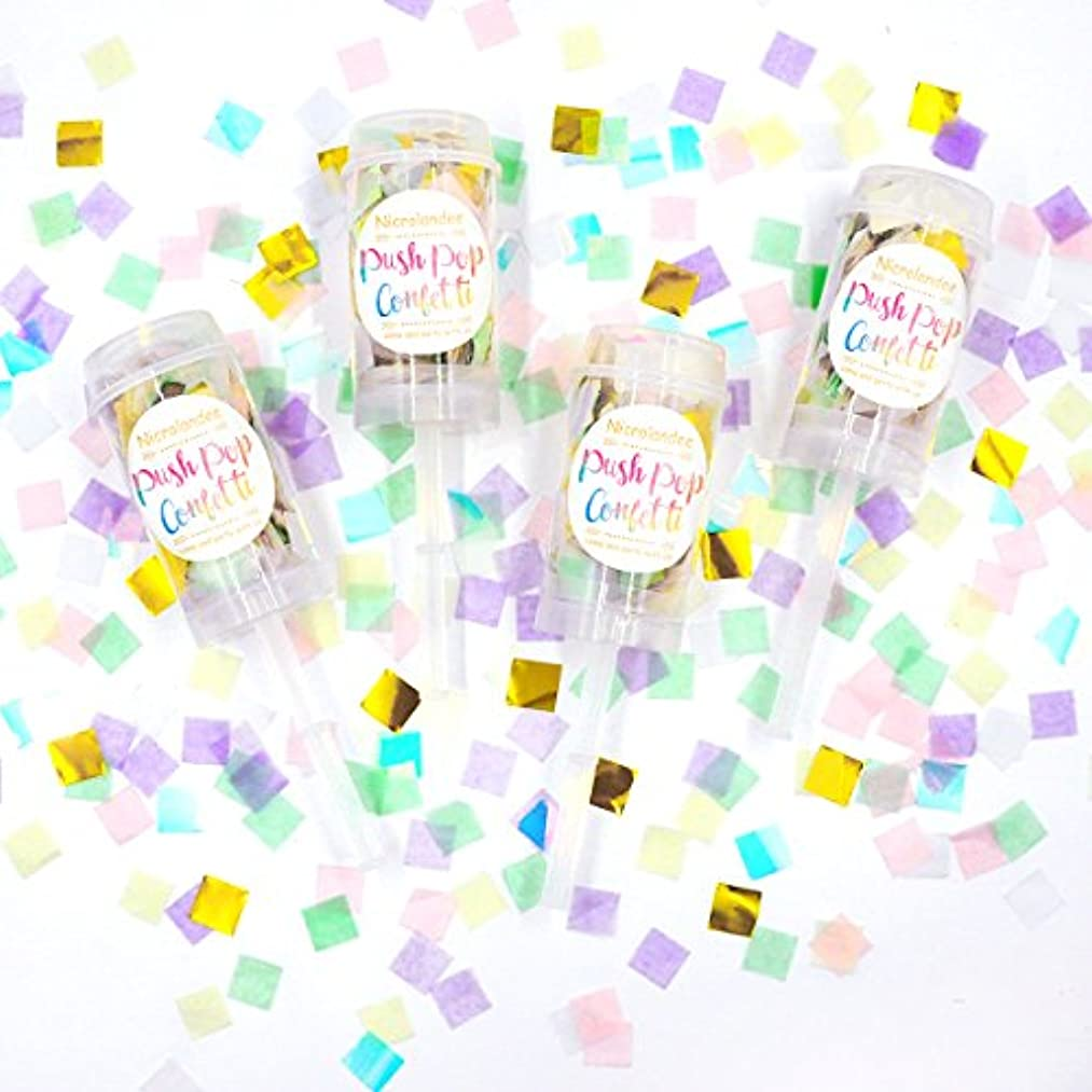 NICROLANDEE Iridescent Push Pop Confetti Unicorn Confetti Poppers Party Tissue Paper Confetti for Mermaid Baby Shower Gender Reveal Bridal Shower Unicorn Party Set of 4 Gift Box