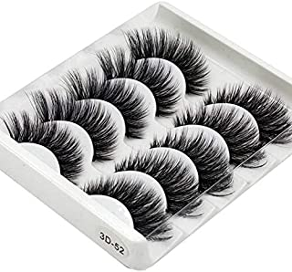 Majoxin 3D Handmade Chemical Fiber False Eyelashes Five Pairs Of Soft And Comfortable Cotton Wire Stem Stereo Multi-Layer ...