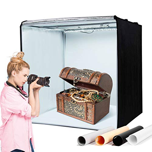 Amzdeal Light Box for Photography 20in Brightness Adjustable Shooting Tent with LED Light 4 Backdrops (White Black Orange Grey)