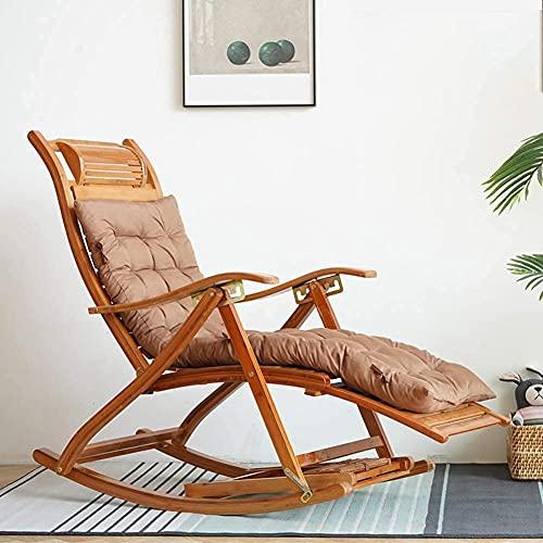 Gartenstuhl, Liegestühle, Liegestühle, Bambus Schaukelstuhl Verstellbarer Klappstuhl Sommer Sonnenliegen im Freien Sessel Balkon Alter Mann Siesta Kap