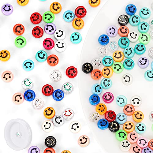 200pcs Smiley Face Beads, 10mm Colorful Mixed Beads for DIY Jewelry Bracelet Earring Necklace Craft Making Supplies.