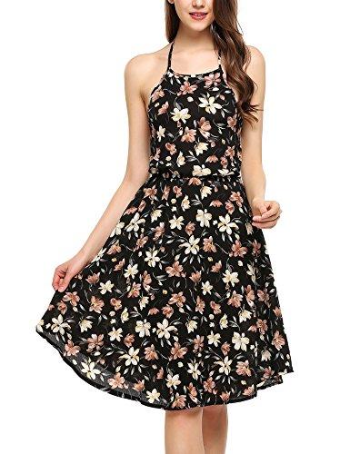 Zeagoo Damen Blumen Sommerkleid Neckholder Floral ärmellos Strandkleid Urlau Freizeitkleid Partykleid (L, Schwarz)