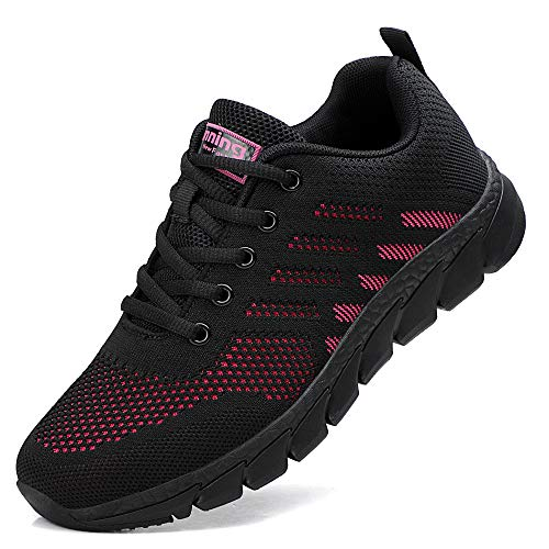 ZPAWDH Damen Turnschuhe Atmungsaktiv Laufschuhe Leichtgewichts Sportschuhe Freizeitschuhe Straßenlaufschuhe Outdoor Sneaker(Black Red,38EU)