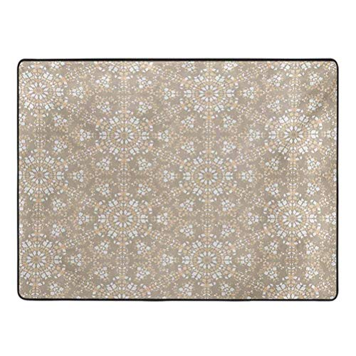 Mosaic Area Rug Antique Roman Time Inspired Rock Design with Circled Modern Lines Image Print Rug pad for Carpet 4' x 6' Tan Peach White