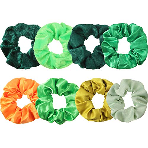 8 Pieces Green Scrunchies Hair Ties St Patrick's Day Hair Accessories Velvet Satin Chiffon Elastic Hair Bands Ropes Ponytail Holders St Patrick Gifts for Girls or Women