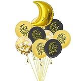 Globos de látex Ramadán Eid Mubarak, de 40,6 cm, globos musulmanes de Ramadán, decoración de fiestas doradas y negros, para decorar fiestas, hogares, bares, noches y reuniones (luna)