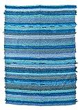 Alfombra de Algodón Natural Rectangular (200x140cm), Turquesa, Pelo Corto. Hecha a Mano en Granada - Alfombra Grande de salón, Dormitorio, Cocina, jardín - Jarapas de la Alpujarra