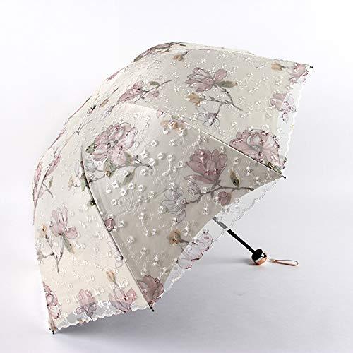 Paraguas de encaje bordado de doble capa, elegante sombrilla de mujer, color negro, triple pliegue, princesa dulce encaje boda (color amarillo