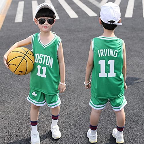 HGFDSA Kinder Basketball Trikot Set, Ärmellose Hemdweste Für Kinder, Für Im Alter Von 4-12 Teamuniformen, Schnelltrocknender Kühler Atmungsaktiver Stoff,Celtics Green no. 11,XS