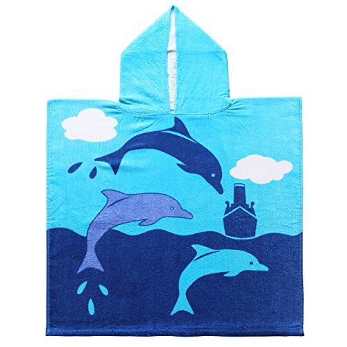Exclusivo Mezcla 100% Cotton Dolphin Kids Baby Hooded Poncho Bath/Beach/Pool Towel 24quot x 47quot