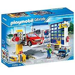 Fun in the city: Playmobil Car Repair Garage, playset with figures and many accessories for detailed re-enactments 1 Mechanic, Car Repair Garage with gate and manual lifting platform, Extensive mechanic equipment, A car, Can be combined with Fuelling...