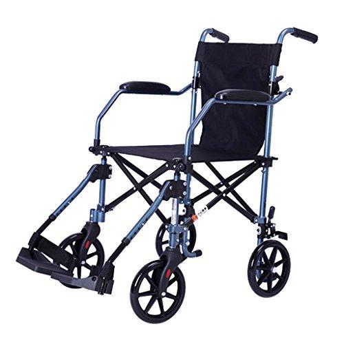 Kinderrollstühle Tragbarer Rollstuhl Aluminiumlegierungsrollstuhl Zusammenklappbarer Rollstuhl Älterer Reiseroller, Mit Einem Gewicht Von 105 Kg (Color : Blue, Size : 85 * 57 * 93cm)
