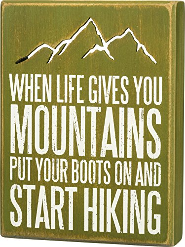 Primitives by Kathy 29806 Distressed Green Box Sign, 6 x 8-Inches, Start Hiking