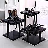 5 Piezas Caja transparente para tartas quadrada - dulces chocolate flores regalos cumpleaños (Negro, 6# M 21,5x21,5x24 cm)