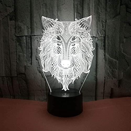 REOOHOUSE Herrschender Wolf führte Licht Farbverlauf 3D Stereo Touch Remote USB Nachtlicht Nachttisch fantasievoll dekoriert Geburtstagsgeschenk 20 * 13cm