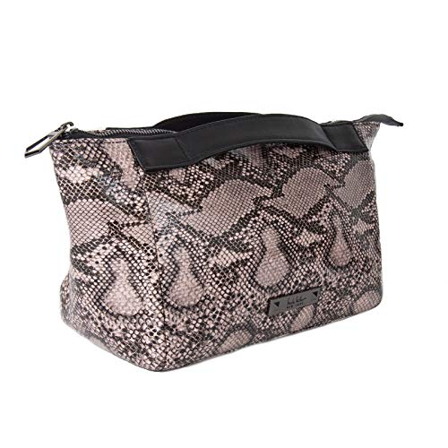 Nicole Miller Makeup Bag, Travel Toiletry Bag, and Cosmetic Bag- Pink Faux Leather Snakeskin Print (Small Clutch Bag)