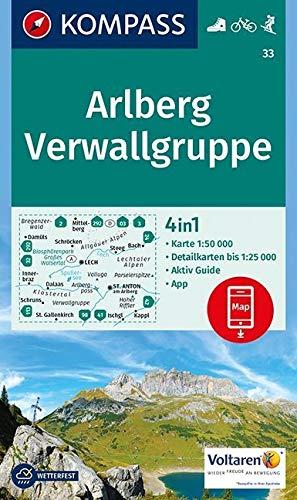 Carta escursionistica n. 33. Arlberg, Verwallgruppe 1:50.000: 4in1 Wanderkarte 1:50000 mit Aktiv Guide und Detailkarten inklusive Karte zur offline ... in der KOMPASS-App. Fahrradfahren. Skitouren.