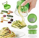 Vegetable Spiralizer, newanima Mini rallador en espiral cortador de verduras verduras en espiral eléctrica–mandolina de acero inoxidable, con pelador, color verde