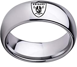 Oakland Raiders Football Ring NFL Sports Titanium Steel Dome Band Jewelry Unisex Size 6-13