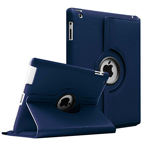 Fintie Rotating Case for iPad 4 3 2 (Old Model) - 360 Degree Rotating Smart Stand Protective Cover with Auto Wake/Sleep for iPad 4th Gen with Retina Display, iPad 3 & iPad 2, Navy