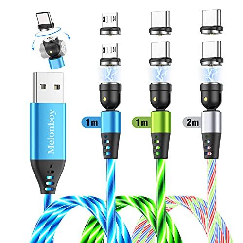 Câble Magnétique [Lot de 3, 1 m+1 m+2 m] Melonboy LED Fluide Câble de Chargeur Power 540 ° USB C Aimanté Chargeur Magnétique pour Téléphone Portable - Multicolore