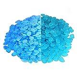 MOGADEE® 300 Blaue Leuchtsteine, Gartendeko Leuchtkiesel, Outdoor Dekosteine, Aquariumdeko Leuchtsteine, Gehwege, Kinderzimmer Dekosteine, Leuchtsteinkiesel