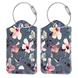 2 Pcs Luggage Tags, Fintie Privacy Cover ID Label with Stainless Steel Loop and Address Card for Travel Bag Suitcase (Blooming Hibiscus)