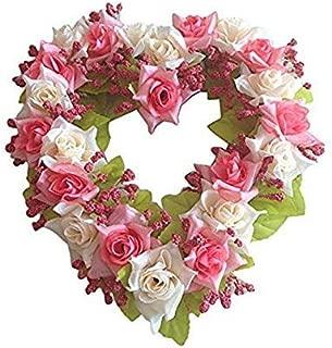 Landy Small Heart Wreath, Hydrangea Wreath Floral Artificial Garland Door Wreath for Home Wedding Valentine's Day 8.2 inch