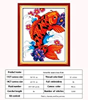 着色ライオン魚は11CT 14CTクロスステッチセットDIY動物のクロスステッチキット刺繍刺繍のホームインテリアを数え Cross-Stitch (Color : Fish, Cross Stitch Fabric CT number : 11CT picture printed)