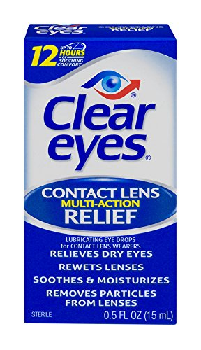 Clear Eyes Contact Lens Multi-Action Relief Eye Drops. Use while wearing daily and extended-wear soft contact lenses These soothing eye drops feature a sterile, buffered solution that refreshes and lubricates eyes for up to 12 hours Moistens lenses a...