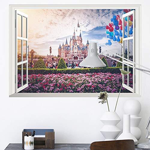 3D Vivid Ventana Princesa Castillo Flor Pegatinas de Pared para Niños Habitaciones Niñas Dormitorio Decoraciones Inicio Calcomanías de PVC Arte Mural Posters