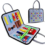 Busy Board for Toddlers 1-6, Montessori Sensory Toy for Develop Basic Skills, Dress and Alphabet Spell Cognition Latch Buckle Learning Games, Great Airplane and Carseat Travel Gift for Boys and Girls