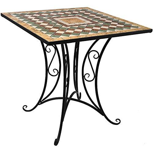 Mosaik Gartentisch 70x70cm Mosaiktisch Beistelltisch Bistrotisch Balkontisch Eisen Keramik