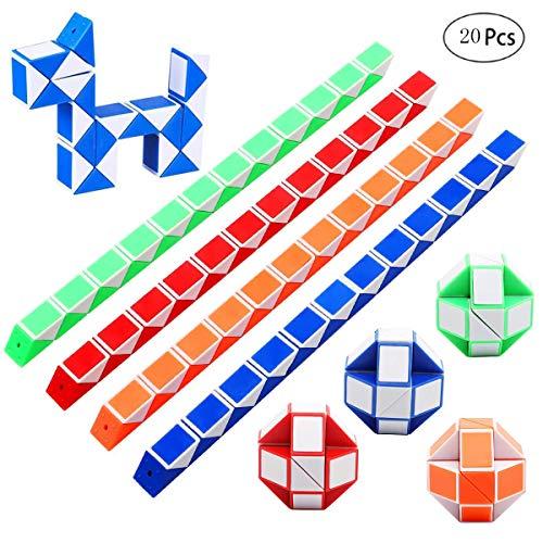 mengger Serpiente de Cubo 20 Piezas 24 Bloques Mini Cubos de Velocidad Mágica Puzzle Snake Cube Rompecabezas de Plástico Juguete para Relleno de Bolsa de Fiesta de Niños