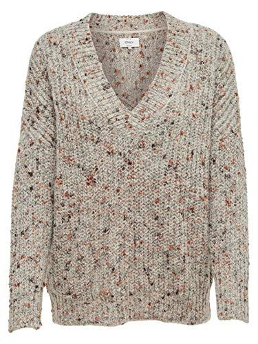 Only Onlhanni Viria L/s V-Pullover Knt Noos Felpa, Grigio (Light Grey Melange Detail: W/Multi Naps), 46 (Taglia Produttore: Large) Donna