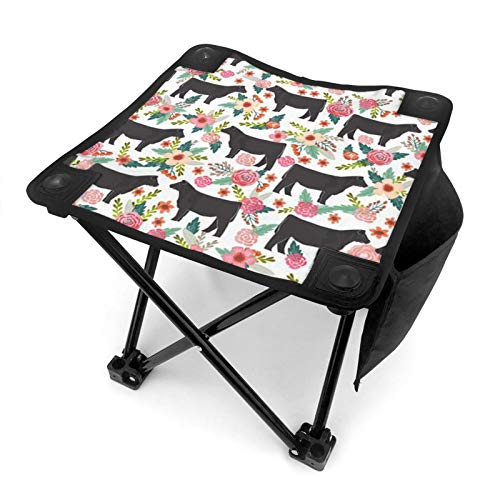 WGYWE Cows And Rose Bushes Camping Stool Portable Folding Slacker Chair Compact Lightweight Chair