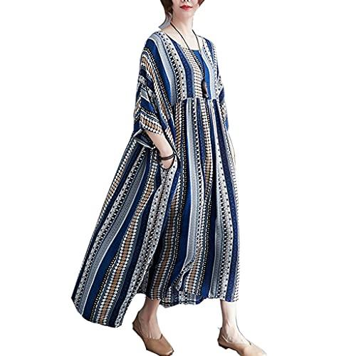 Vestido Mujer Las Mujeres de Lino de algodón Vestido, Bloque de Color Media Manga Casual Suelto Túnica, Vintage Empalmado A Rayas Vestido Largo Suelto Demasiado Grande