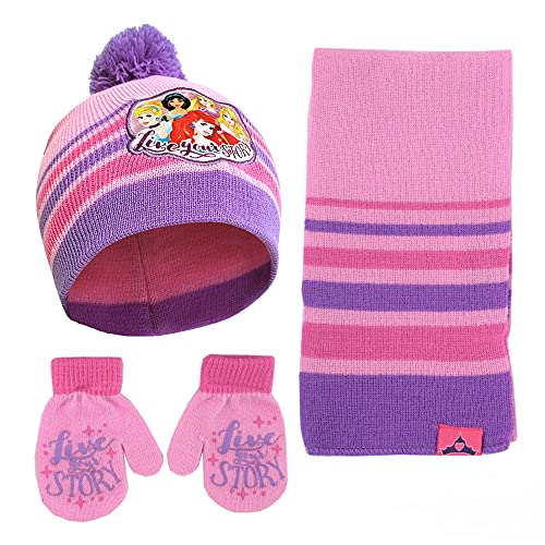 Disney girls Princess Hat, Scarf and Gloves Mitten Cold Weather Winter Accessory Set, Pink/Purple, Hat Mitten Set, Age 2-4, Toddler Age 2-4 US