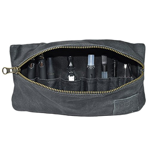 Waxed Canvas Vape Pen Accessories Kit Pouch Holder, Secure Fit, Cord Storage, G Pen Soft Travel Bag Handmade by Hide & Drink (Accessories not Included) :: Charcoal Black