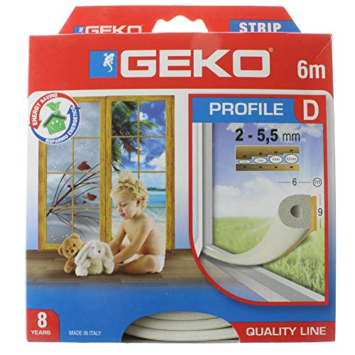 Geko adhésif Boudin en extrudé en Caoutchouc EPDM pour Portes et fenêtres Profil D-mm 9 x 6 x 6 Metre (2 x 3 m) fermé Box, Blanc, Taille Unique