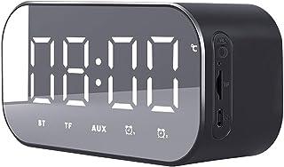 Jawwei Bluetooth スピーカー ワイヤレス ブルートゥース 多機能 アラーム デジタル 目覚まし 置き 時計 TFカード再生 スヌーズ 機能 3D 立体 高音質 多機能 AUX 温度計 ハンズフリー通話 ミラースクリーン 日本語説明書付き ブラック